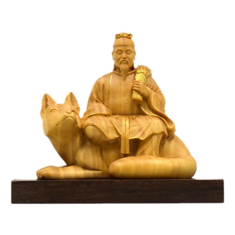 木彫り仏像-小仏 柘植【稲荷神】 金泥付 総高7.3cm