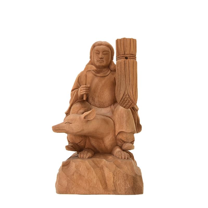 木彫り神像 稲荷大神【最上位経王大菩薩(最上尊)】 楠木(クスノキ) 坐3.0寸 総高22.5cm