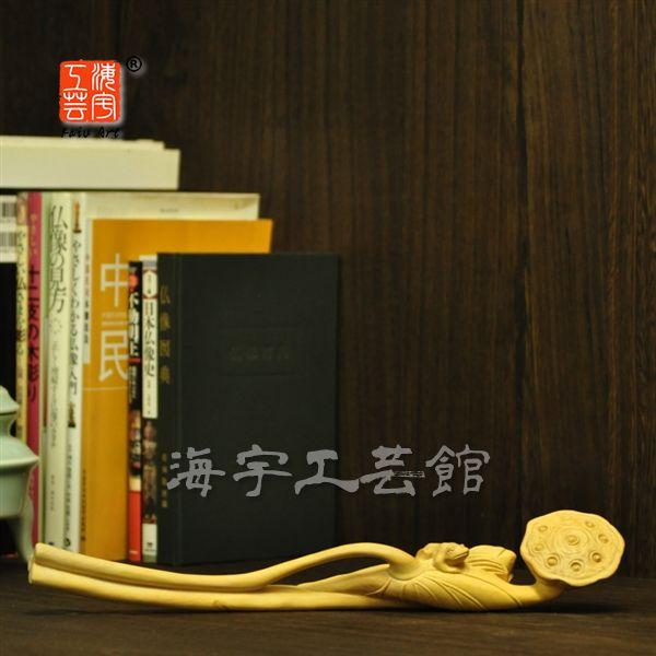 【木彫仏具】柘植如意-蓮 36.5cm