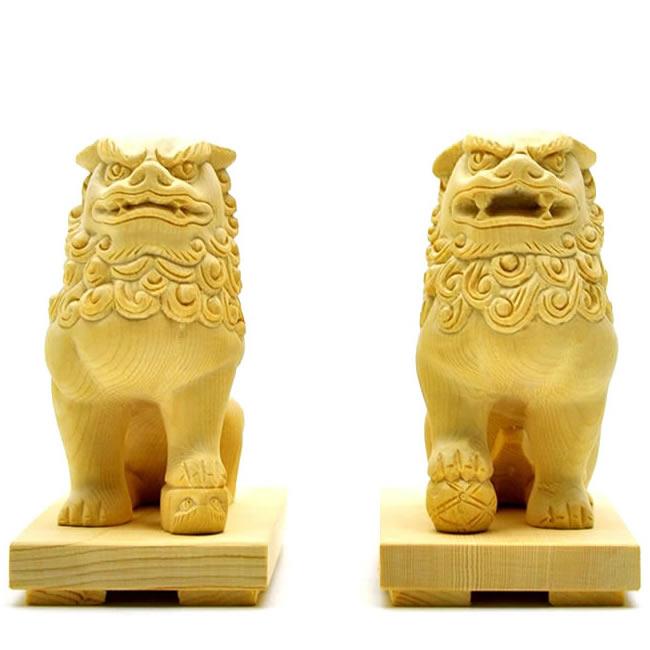木彫置物 【狛犬(唐獅子)阿吽セット】 桧木 総高10cm