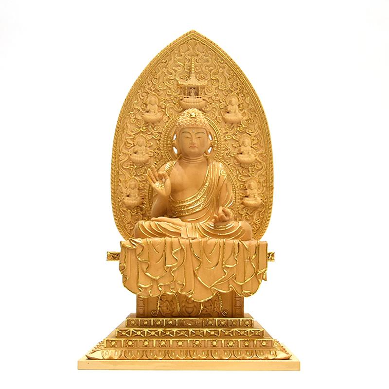 木彫り仏像 薬師寺形【薬師三尊像】 桧木 切金 本尊坐3.0寸 脇仏立4.5寸