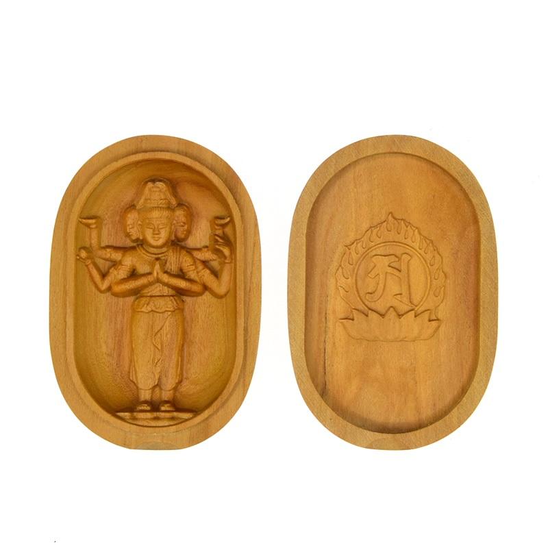 木彫り仏像 【阿修羅立像】 白檀小判型香合仏 ※紙箱入れ