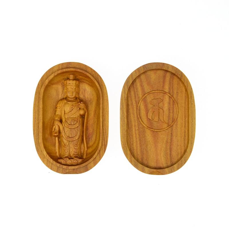 木彫り仏像 【十一面観音菩薩】 白檀小判型香合仏 ※紙箱入れ