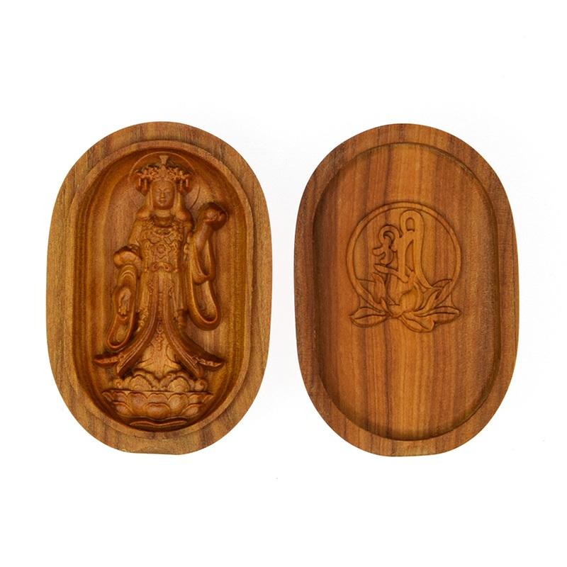 木彫り仏像 【吉祥天立像】 白檀小判型香合仏 縦6cm ※紙箱入れ