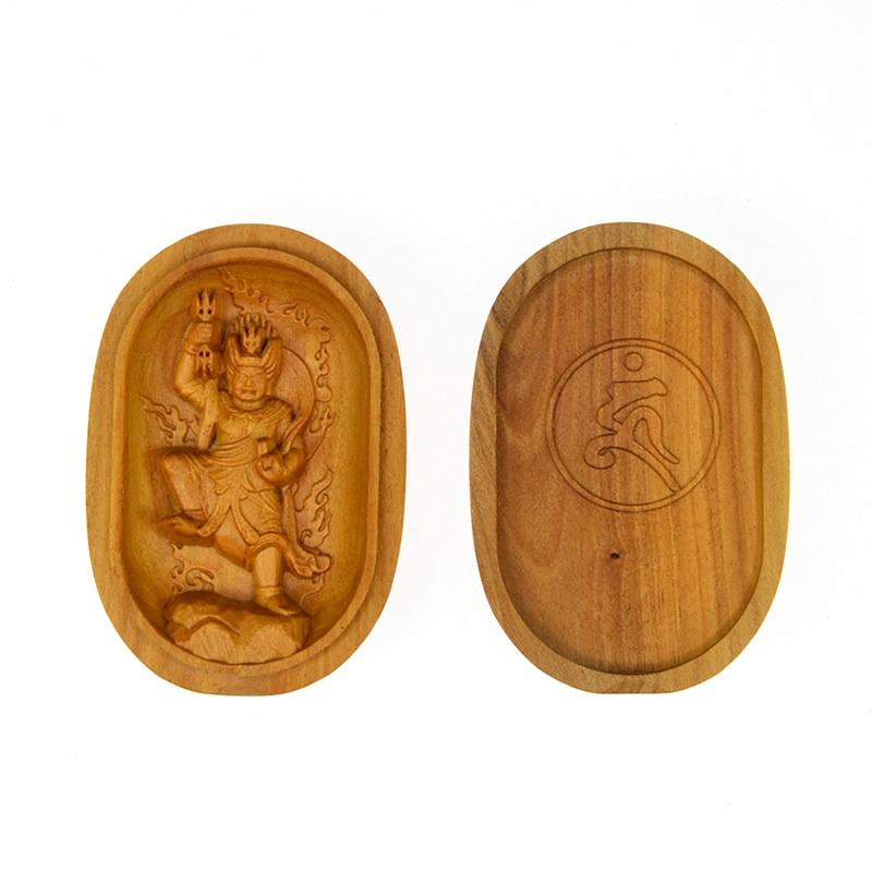 木彫り仏像 【蔵王権現(ざおうごんげん)】 白檀小判型香合仏 ※紙箱入れ