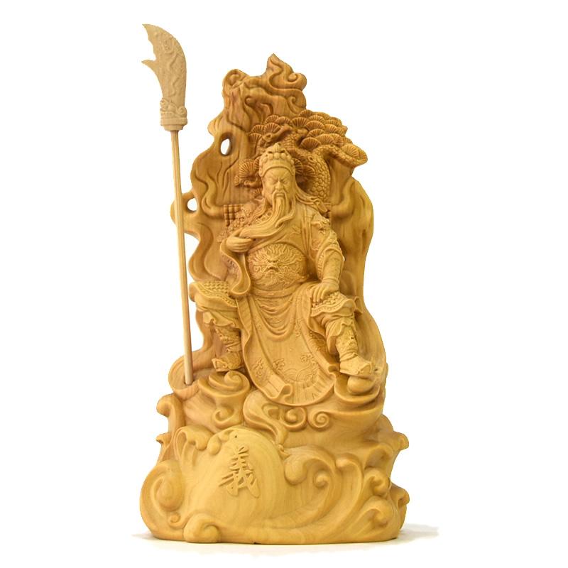 木彫置物 柘植関羽 総高16cm「武財神」