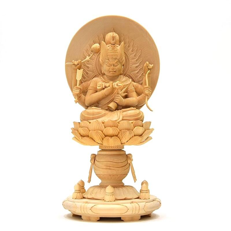 木彫り仏像 【愛染明王】 桧木 坐2.5寸 総高25.5cm