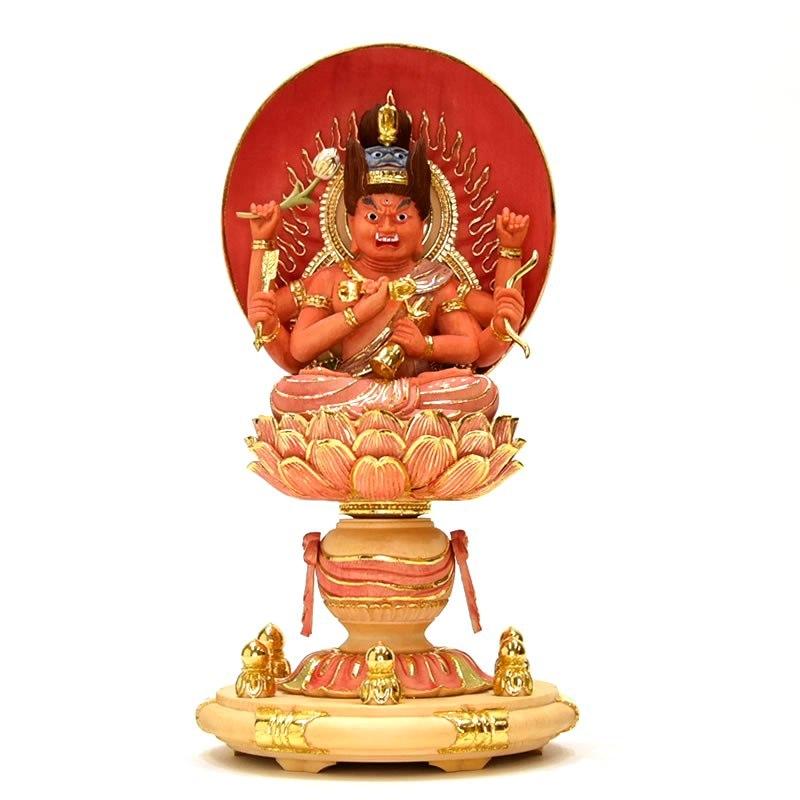 木彫り仏像 【愛染明王坐像】 淡彩色 桧木 坐2.5寸