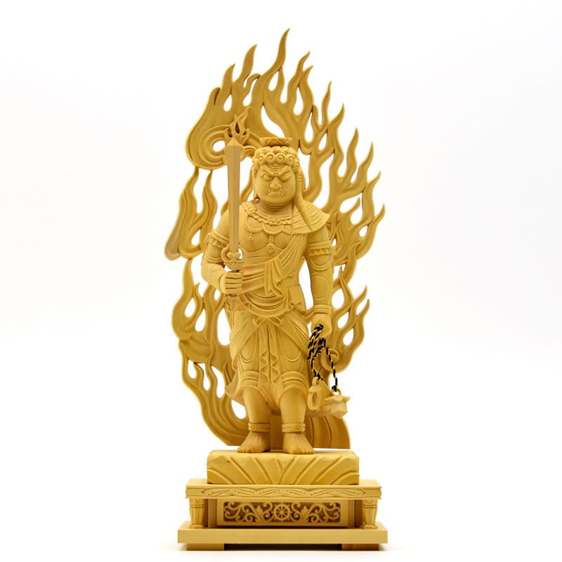 木彫り仏像 【不動明王立像】 柘植製 立5.0寸 お守り本尊 干支 酉年(とり)