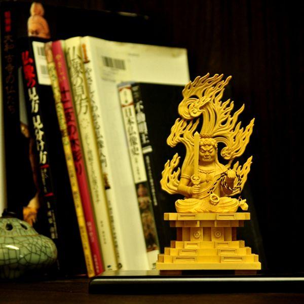 木彫り仏像 【座不動明王】 柘植(つげ) 坐2.0寸