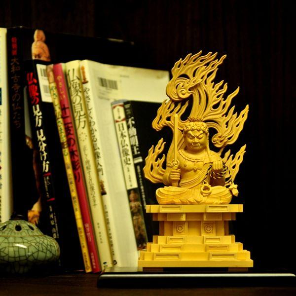 木彫り仏像 【座不動明王】 柘植(つげ) 坐2.5寸