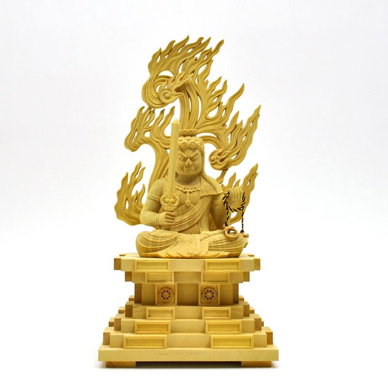 木彫り仏像 【座不動明王】 柘植(つげ) 坐3.0寸 お守り本尊 干支 酉年