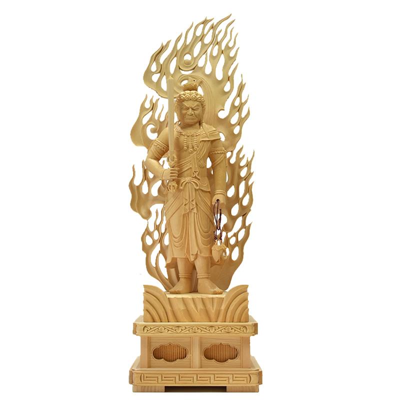 木彫仏像 【不動明王立像】 桧木(ヒノキ) 立1.0尺 総高63cm お守り本尊-酉年 真言宗