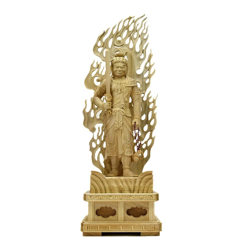 楠木【不動明王立像】 立1.0尺 総高63cm お守り本尊-酉年 真言宗