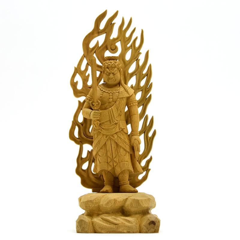 木彫り仏像 楠木【不動明王】 立4.0寸 総高25cm お守り本尊-酉年 真言宗 脇仏