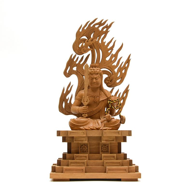 木彫り仏像 檀木【座不動明王】坐2.5寸 総高約23cm