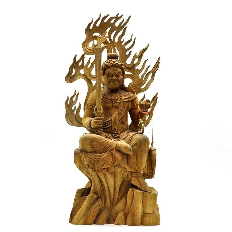 木彫り仏像 【不動明王半跏像】 楠木 坐7.5寸 総高62cm ※ご注意:代金引換は対応できません。