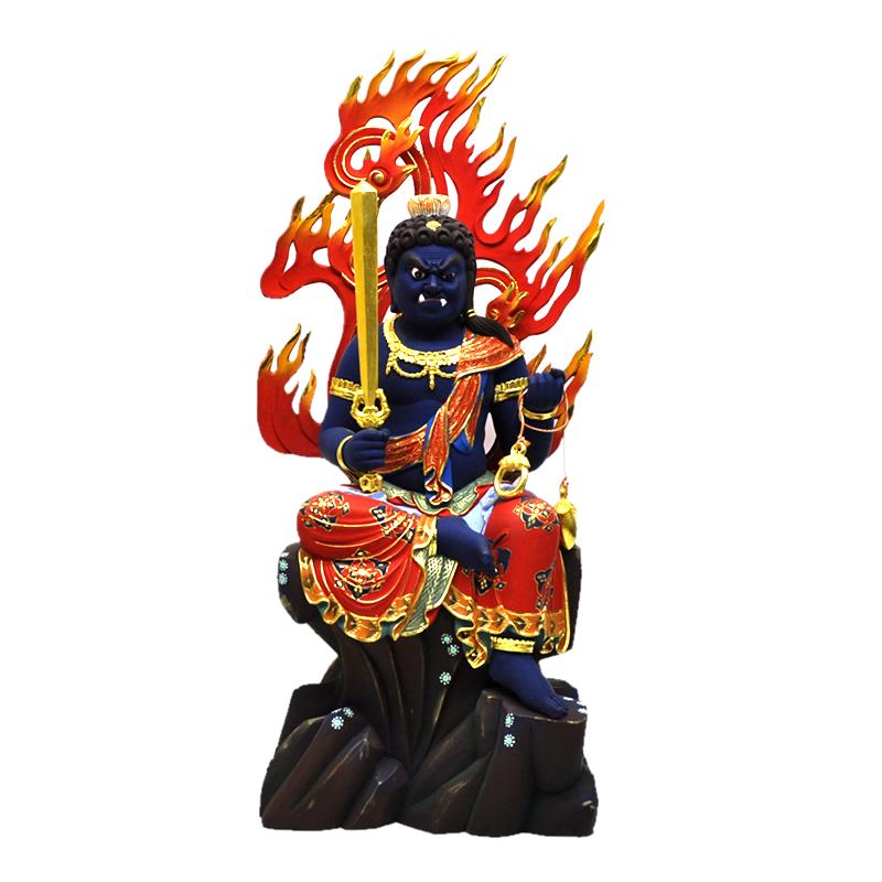 木彫り仏像 楠木極彩色【不動明王半跏像】 坐7.5寸 総高62cm ※ご注意:代金引換は対応できません。