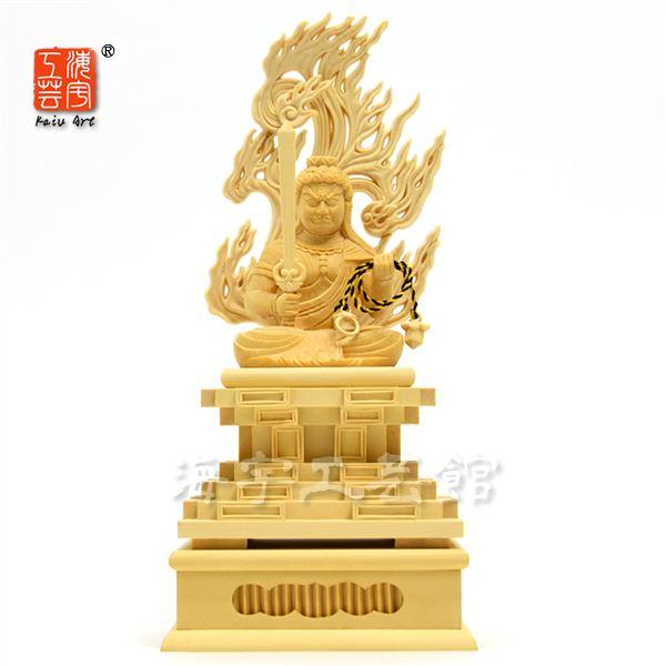木彫り仏像 干支お守り本尊-酉年 【不動明王】 檜(ヒノキ) 坐2.0寸