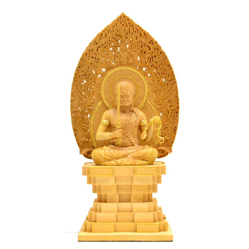 木彫り仏像 小仏-東寺形【不動明王座像】 五大明王之一 柘植 金泥仕様 総高15cm ミニ仏像