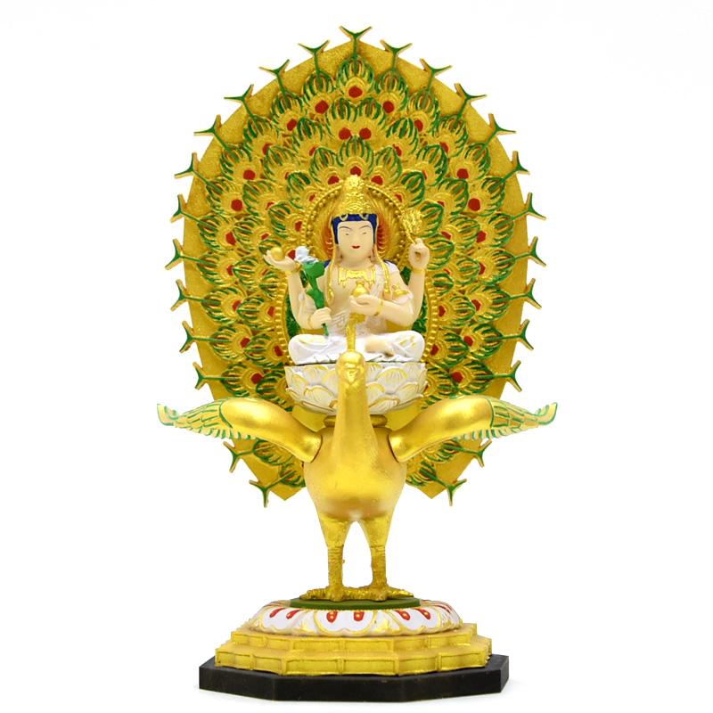 【小仏】シリーズ 【孔雀明王】 柘植(ツゲ) 極彩色 総高17.5cm 木彫り 本格ミニ仏像