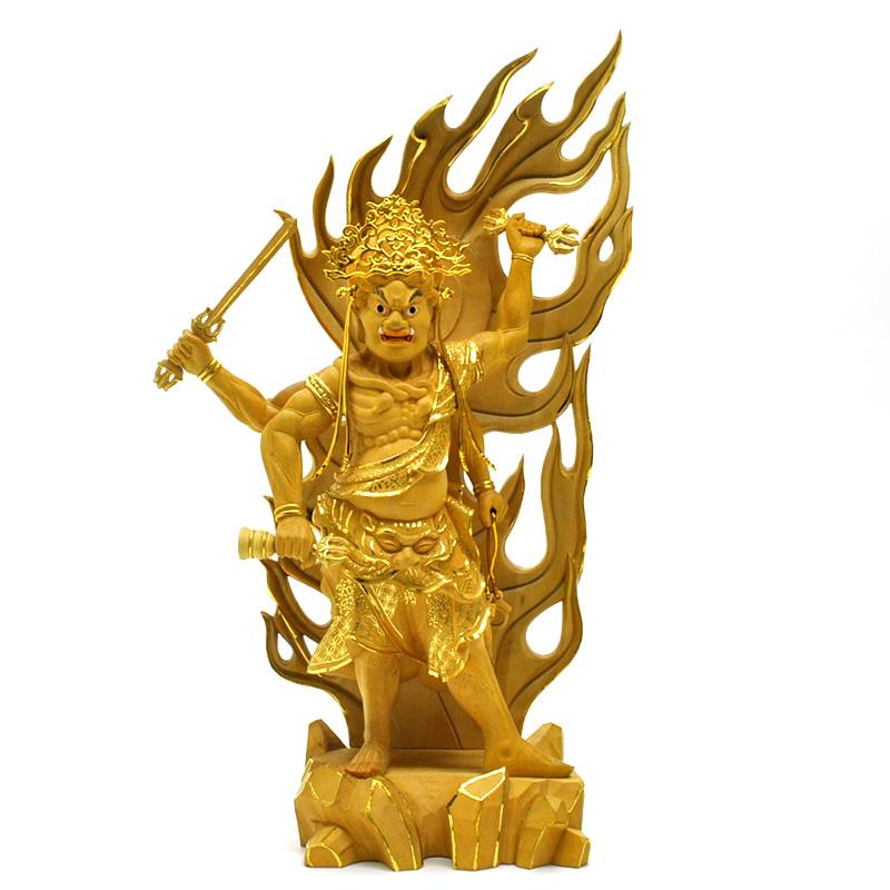 木彫り仏像 【烏枢沙摩明王(うすさまみょうおう)】 柘植(ツゲ) 切金 総高40cm ※代引不可※