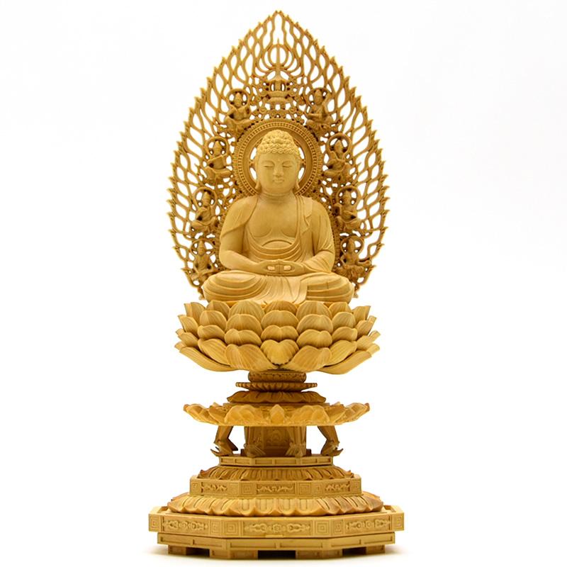 木彫り仏像 【阿弥陀如来】 柘植 飛天光背八角台 坐2.0寸 総高22cm 宗派仏像 天台宗