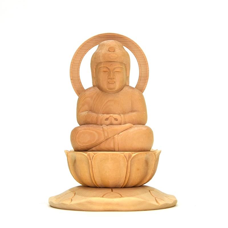 木彫り仏像 童子型【阿弥陀如来】 干支お守り本尊 戌年(いぬ) 亥年(いのしし) 材質:桧木(ヒノキ)