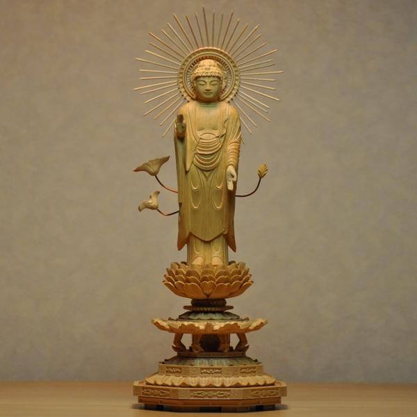 木彫り仏像 【東形阿弥陀如来】 八角台 柘植(ツゲ) 立4.0寸 浄土真宗 御本尊