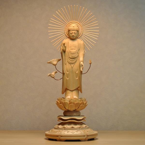 木彫り仏像 【東形阿弥陀如来】 桧木 丸台 身丈:立5.0寸