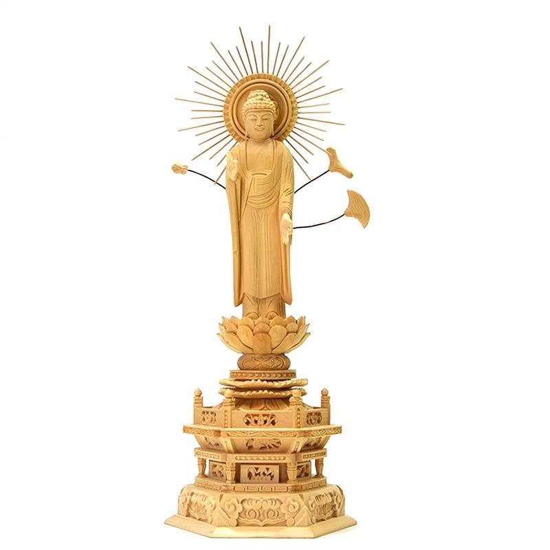 木彫り仏像 【東形阿弥陀如来】 放射光背六角台 桧木 立4.5寸 御本尊/浄土真宗