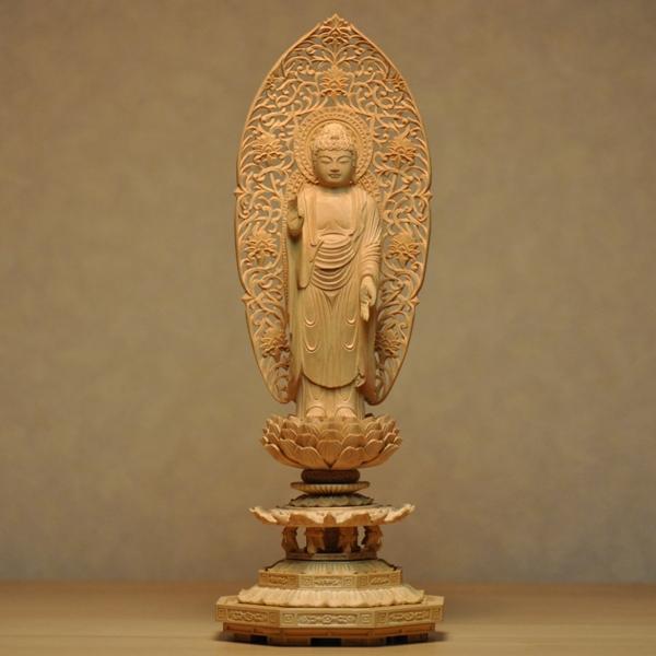 木彫り仏像 【舟形阿弥陀如来立像】 八角台 柘植(つげ) 立3.0寸