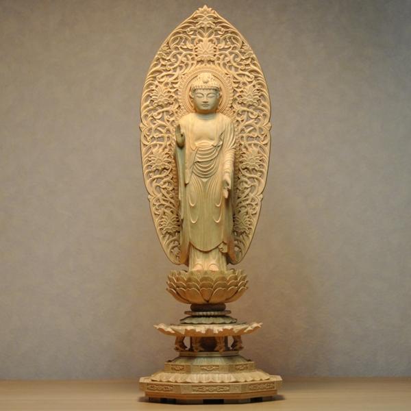 木彫り仏像 【舟形阿弥陀如来立像】 八角台 柘植(つげ) 立5.0寸