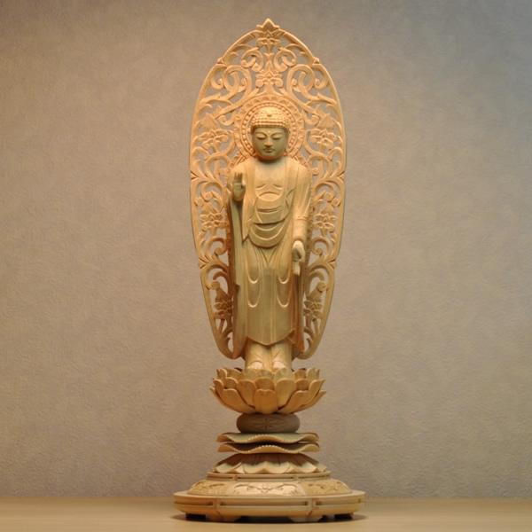 木彫り仏像 【舟形阿弥陀如来】 丸台 檜(ひのき) 立5.0寸