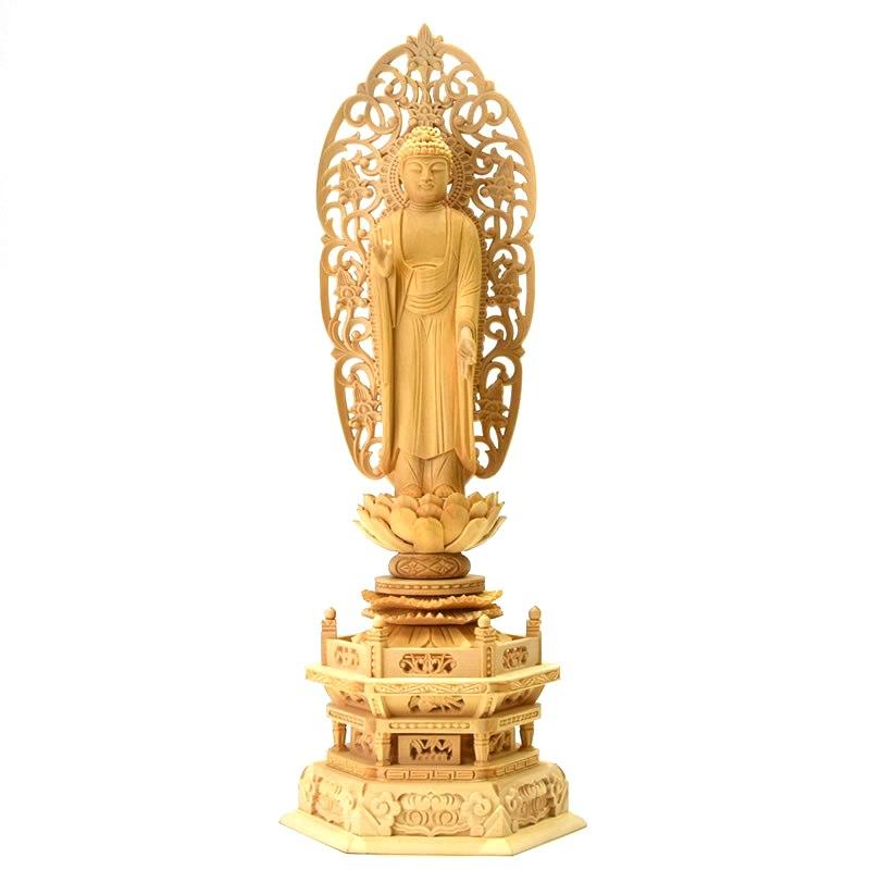木彫り仏像 【舟形阿弥陀如来】 唐草光背六角台 桧木 立4.5寸 浄土宗/御本尊