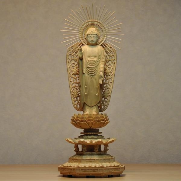 木彫り仏像 【西形阿弥陀如来】 八角台 柘植(ツゲ) 立4.0寸 浄土真宗 御本尊