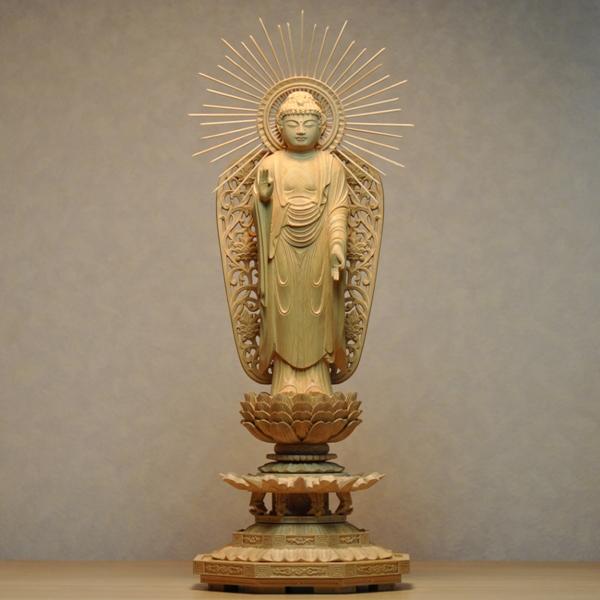 木彫り仏像 【西形阿弥陀如来】 八角台 柘植(ツゲ) 立5.0寸 浄土真宗 御本尊