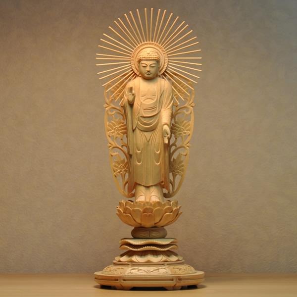 木彫り仏像 【西形阿弥陀如来】 丸台 檜(ひのき) 立5.0寸 浄土真宗 御本尊