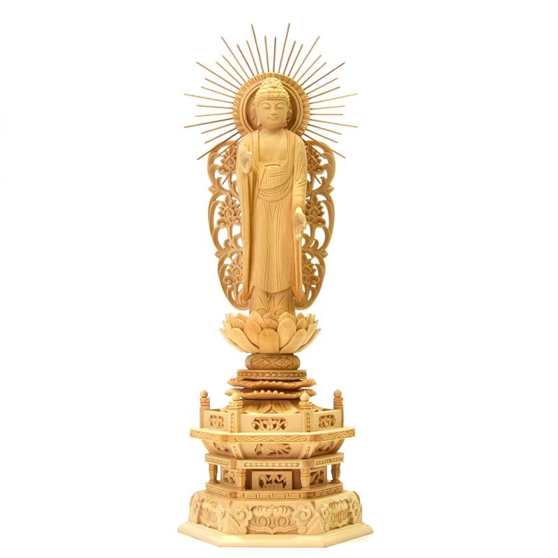 木彫り仏像 【西形阿弥陀如来】 唐草放射光背六角台 桧木 立4.5寸 浄土真宗 御本尊