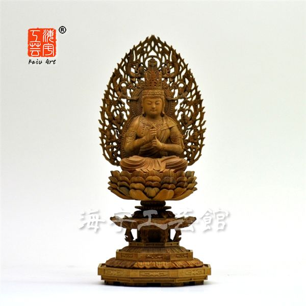 木彫り仏像 【大日如来】 白檀 飛天光背八角台 坐2.0寸 総高22cm 真言宗御本尊