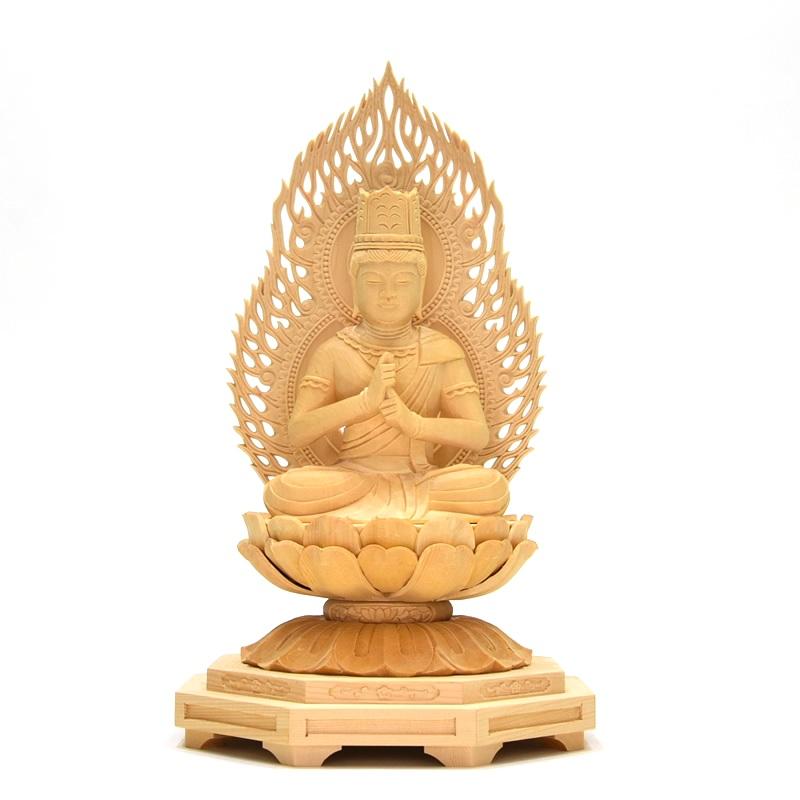 木彫り仏像  干支御守本尊【大日如来】 火炎光背小八角台 桧 坐3.0寸 真言宗 御本尊