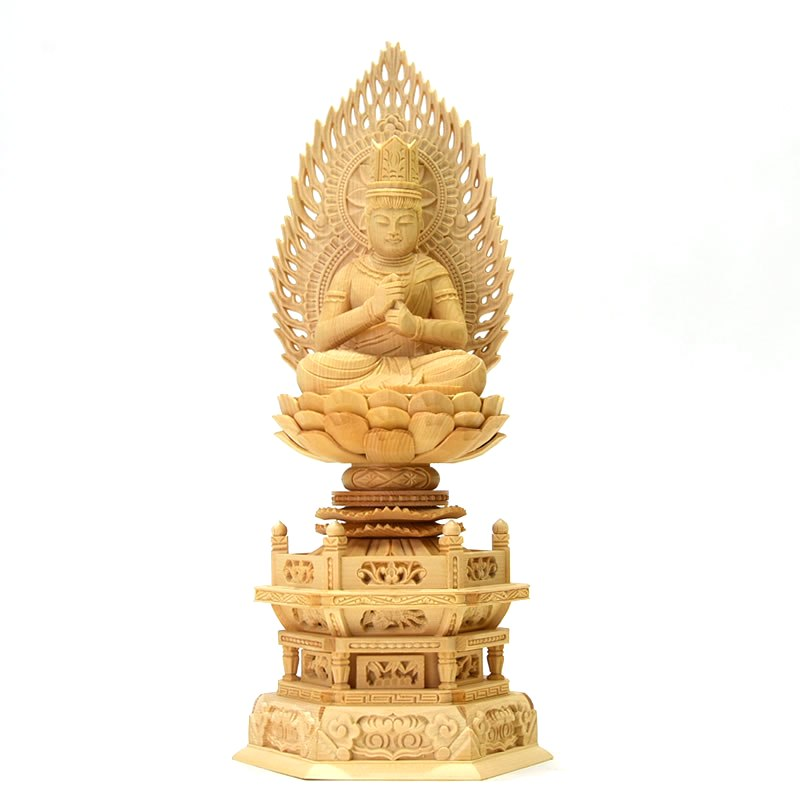 木彫り仏像 【大日如来】 桧木火炎光背六角台 坐2.5寸 総高30cm 真言宗 御本尊