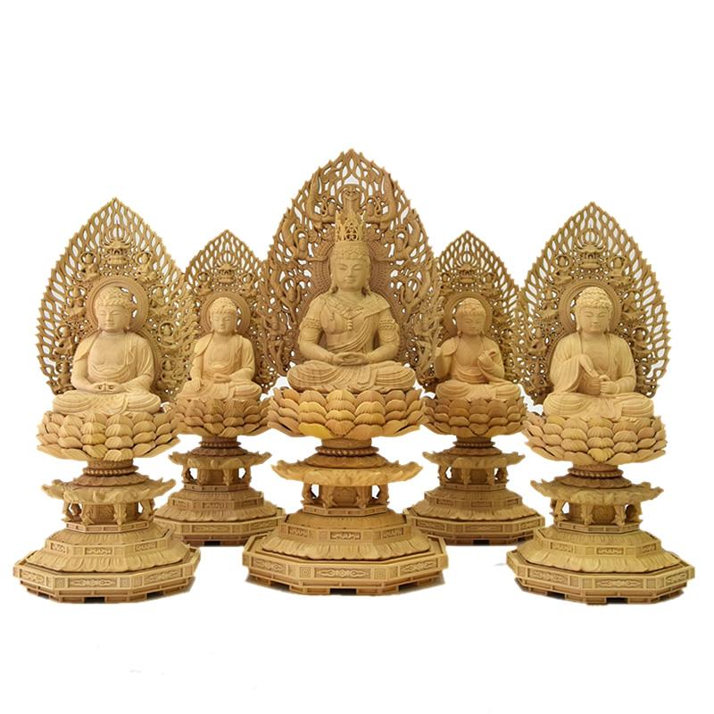 木彫り仏像 胎蔵界五仏セット 大日如来坐2.5寸 四仏坐2.0寸 柘植(つげ)