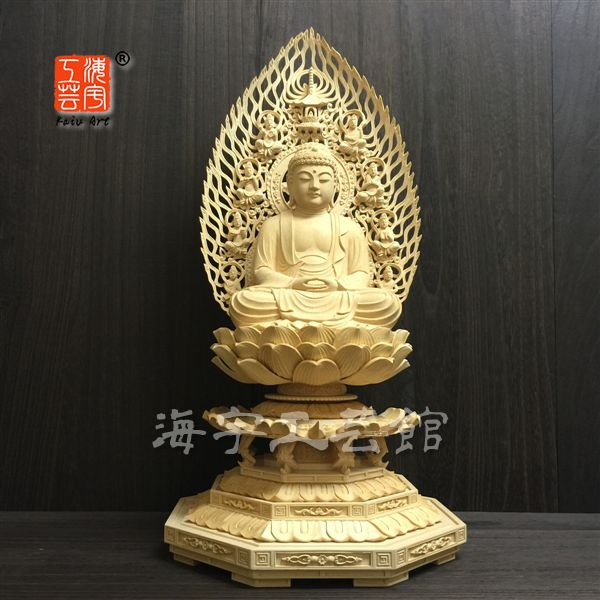 木彫り仏像 【釈迦如来】 桧木 飛天光背八角台 坐6.0寸 総高60cm