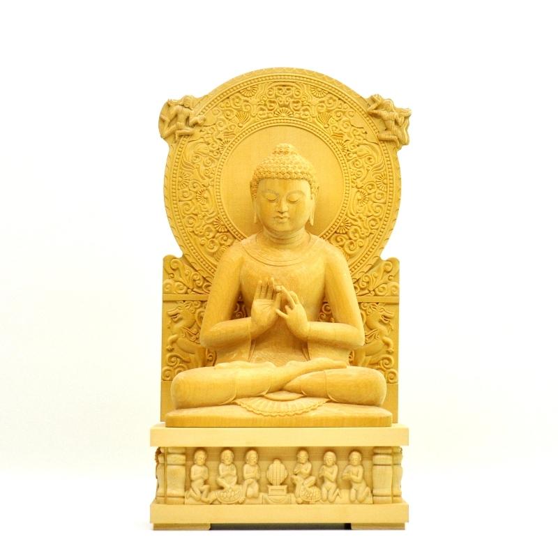 木彫り仏像 夏瑞分作 桧木【初転法輪像】 坐5.0寸 総高33cm ※ご注意:代金引換は対応できません。