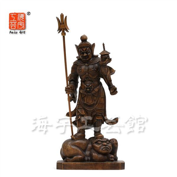 木彫り仏像 【毘沙門天立像】 柘植 古色仕上げ 立4.5寸 総高23.5cm