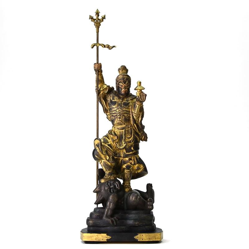 木彫り仏像 【毘沙門天像】 檀木(ダンモク)古美色 立5.0寸 「四天王之多聞天」
