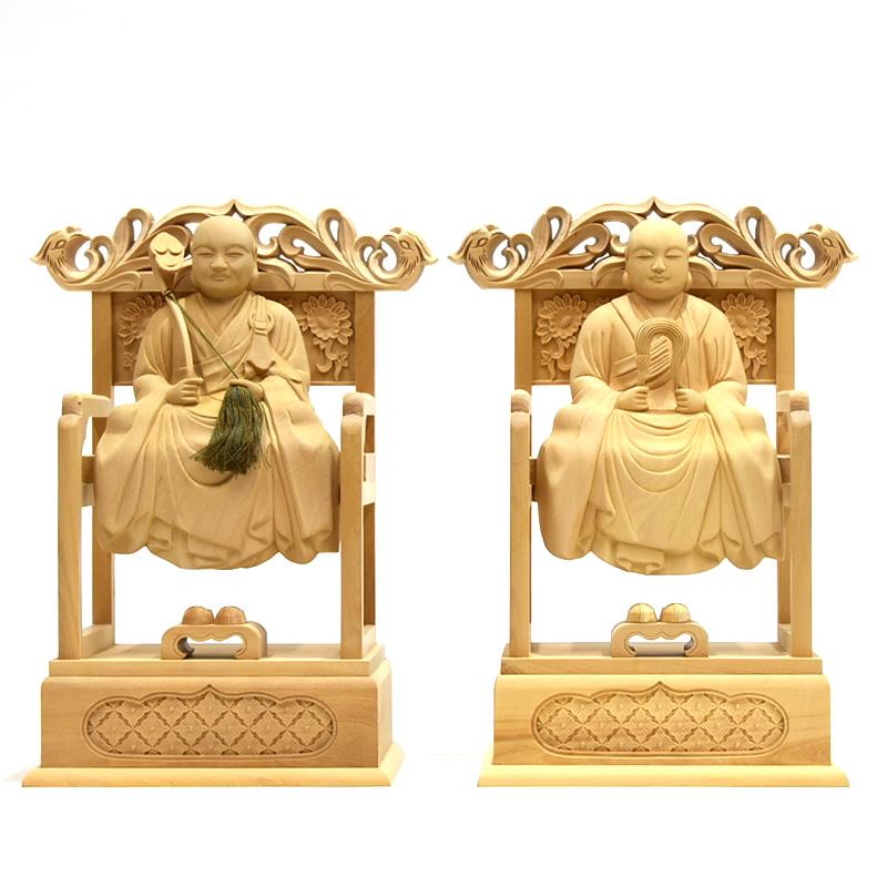 木彫り仏像 曹洞宗脇仏 柘植高祖道元(承陽大師)・太祖瑩山(常済大師)坐2.5寸セット