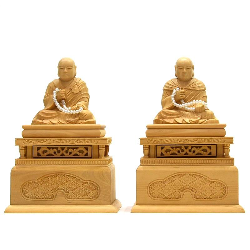 木彫り仏像 浄土真宗西本願寺派脇仏 柘植【蓮如上人・親鸞聖人】 坐1.5寸セット