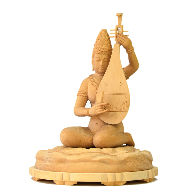 木彫り仏像 【裸弁才天(弁財天)】 桧木 坐3.5寸 総高20cm